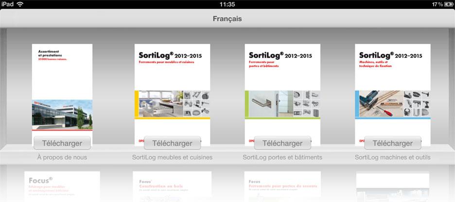 Application iPad avec catalogues de produits à feuilleter d'OPO Oeschger