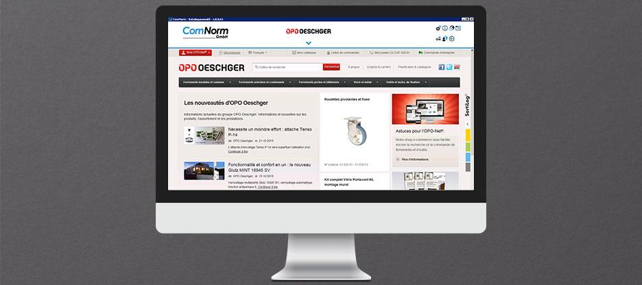 OPO Oeschger premier fournisseur de ferrements dans le nouveau ComNorm 4 avec affichage plein écran.