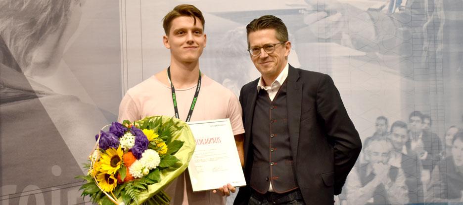 Nikola Dukanovic remporte le prix du ferrement d'OPO Oeschger de la « star de la nouvelle génération de menuisiers »